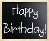 """Happy Birthday"" handwritten with white chalk on a blackboard — Стоковое фото"