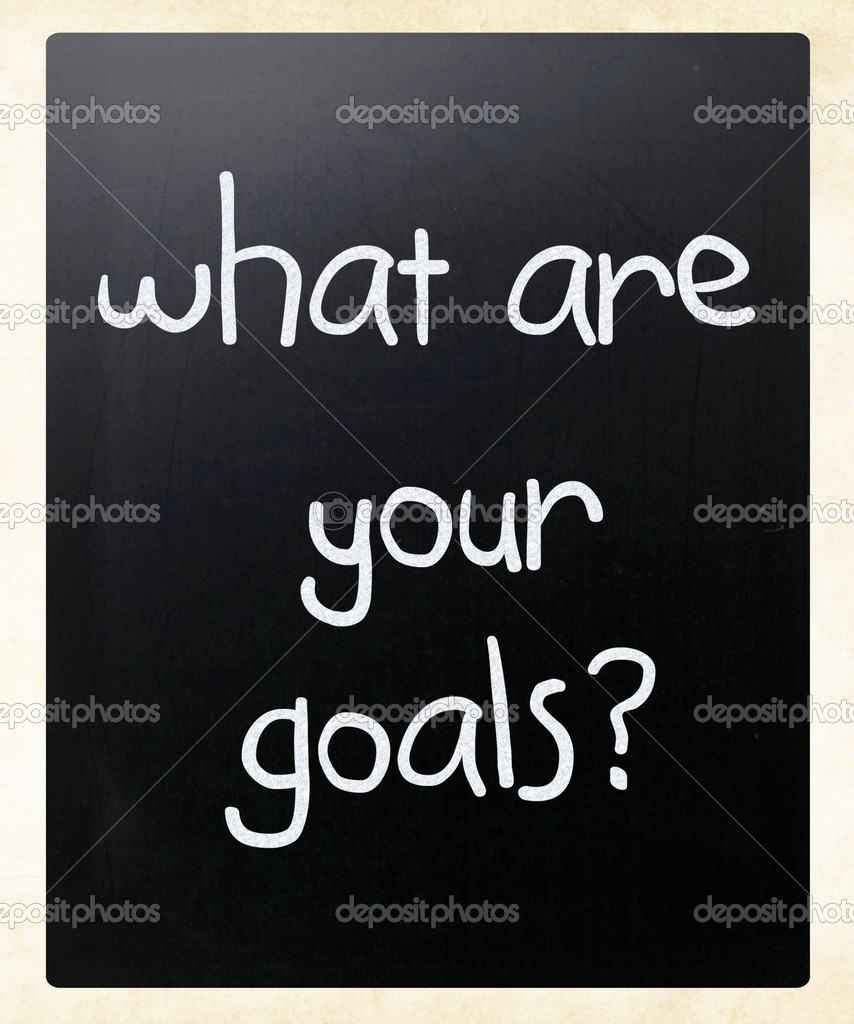 What are your goals? handwritten with white chalk on a blackboard — Stock Photo #10212565