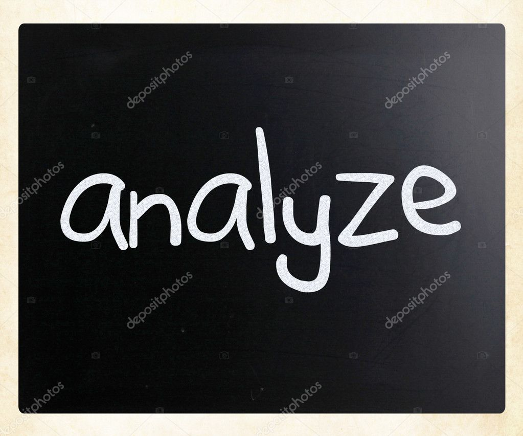 Analyze handwritten with white chalk on a blackboard — Stock Photo #10212643