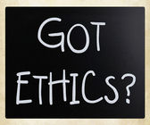 """Got Ethics?"" handwritten with white chalk on a blackboard — Stock Photo"