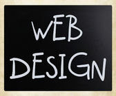 """Web Design"" handwritten with white chalk on a blackboard — Stock Photo"