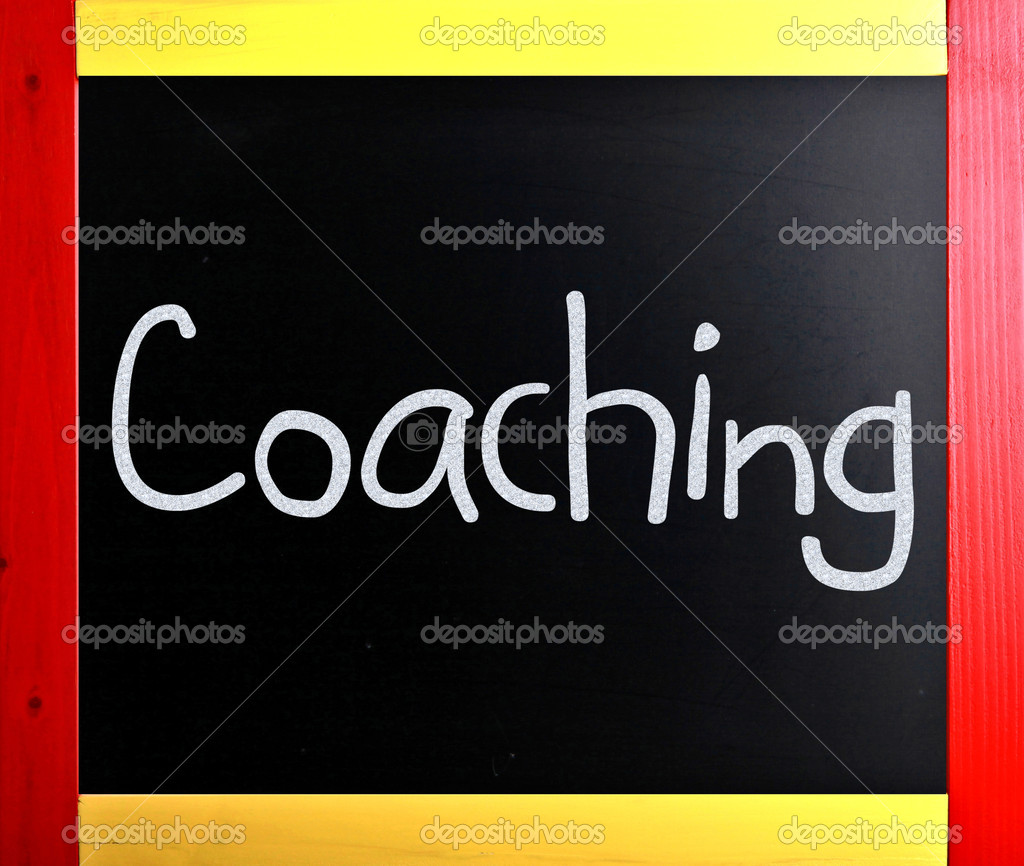 Coaching handwritten with white chalk on a blackboard — Stock Photo #9052457