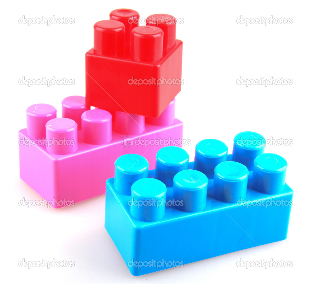 Plastic building blocks on a white background — Stock Photo #9058438