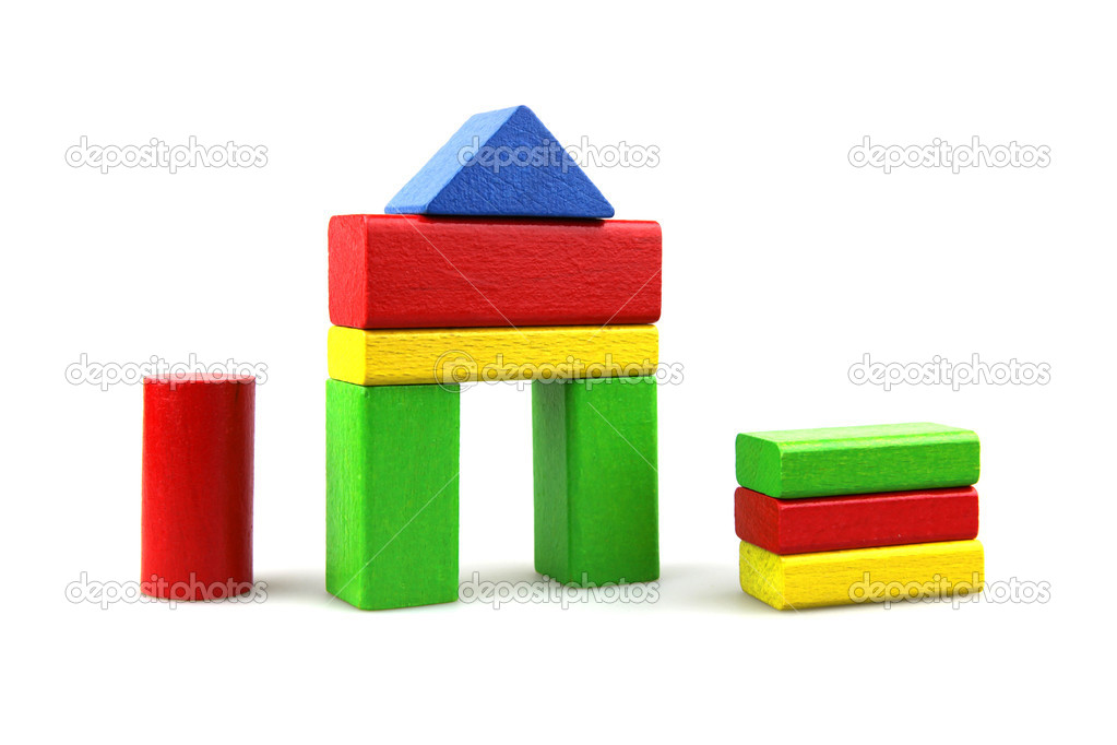 Plastic building blocks on a white background — Stock Photo #9104081