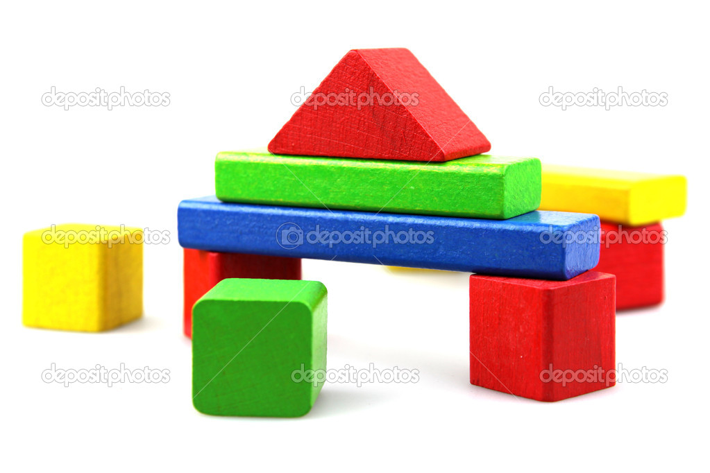 Plastic building blocks on a white background — Stock Photo #9104125