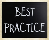 """Best practice"" handwritten with white chalk on a blackboard — Stock Photo"