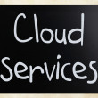 "Stock Photo: ""Cloud services"" handwritten with white chalk on blackboard"