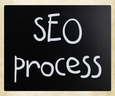 """SEO process"" handwritten with white chalk on a blackboard — Foto Stock"