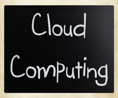 """Cloud computing"" handwritten with white chalk on a blackboard — Stock Photo"
