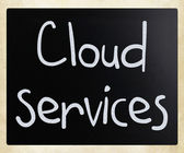 """Cloud services"" handwritten with white chalk on a blackboard — Stock Photo"