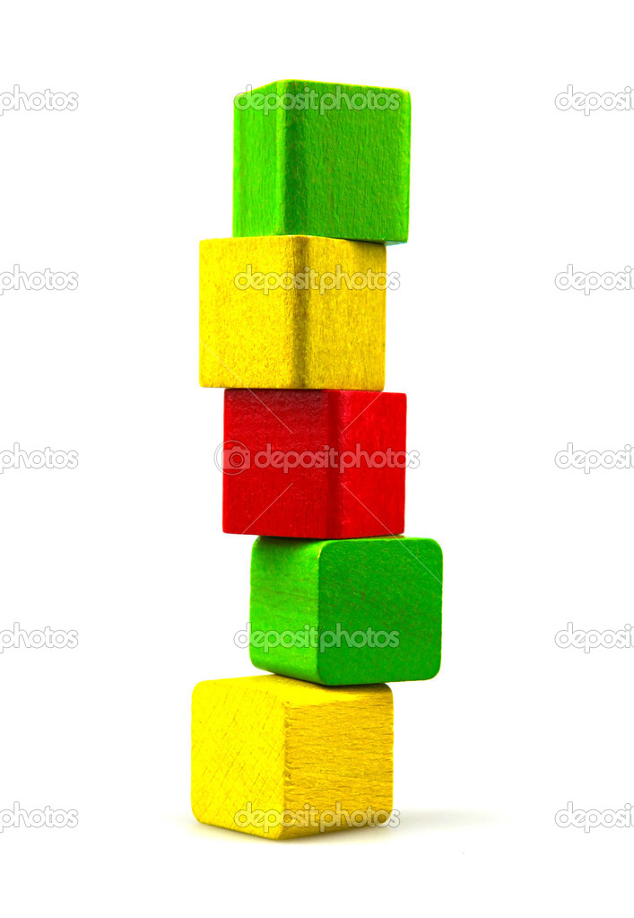 Wooden building blocks isolated on white background — Stock Photo #9681455