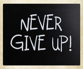"""""""Never give up"""" handwritten with white chalk on a blackboard — Stock Photo"""