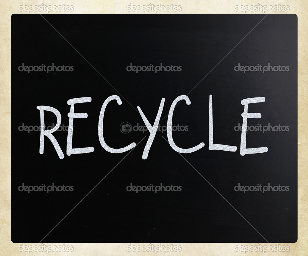Recycle handwritten with white chalk on a blackboard — Stock Photo #9697965