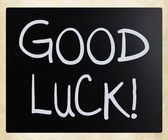 """Good luck!"" handwritten with white chalk on a blackboard — Stock Photo"