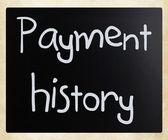 """""""bir kara tahta üzerinde beyaz tebeşir ile el yazısı ödeme tarihi — Stok fotoğraf"""