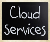 """""""Cloud services"""" handwritten with white chalk on a blackboard — Stock Photo"""