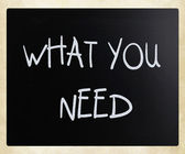 """What you need"" handwritten with white chalk on a blackboard — Foto de Stock"