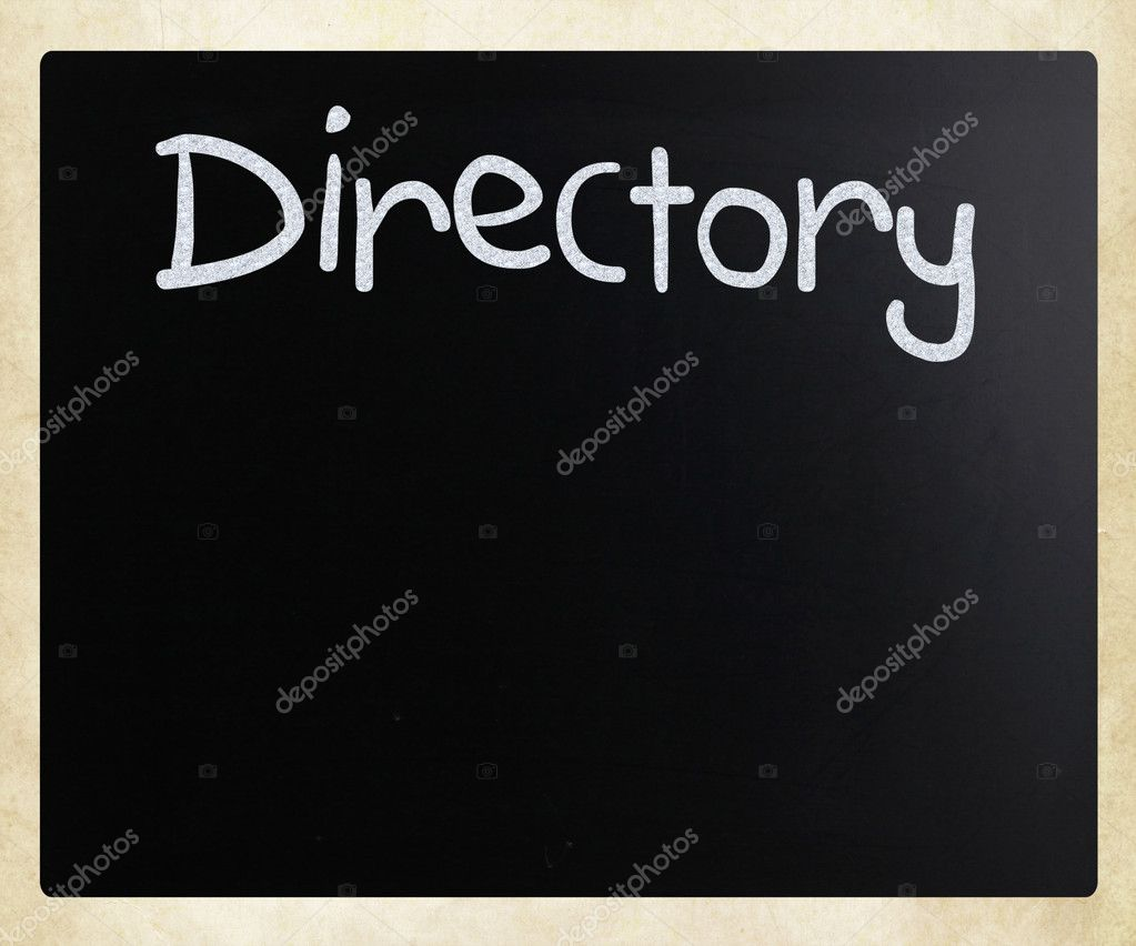 Directory handwritten with white chalk on a blackboard — Stock Photo #9717214