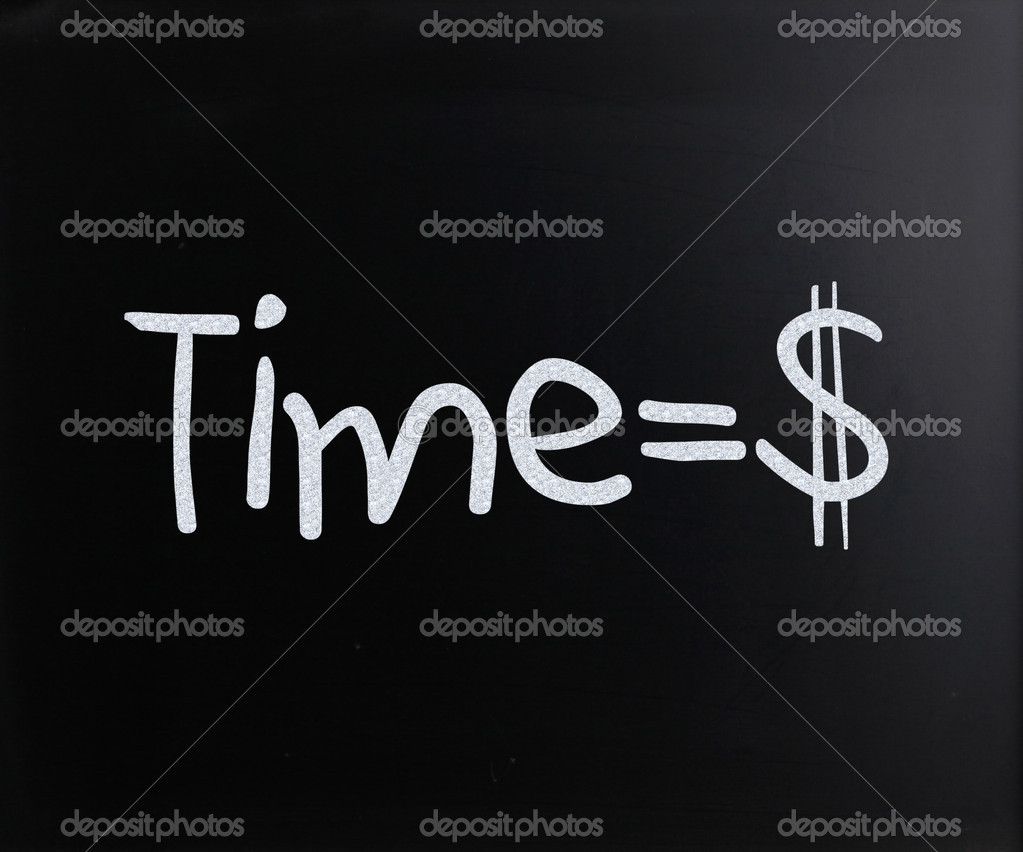 Time is money handwritten with white chalk on a blackboard  Stock Photo #9717250