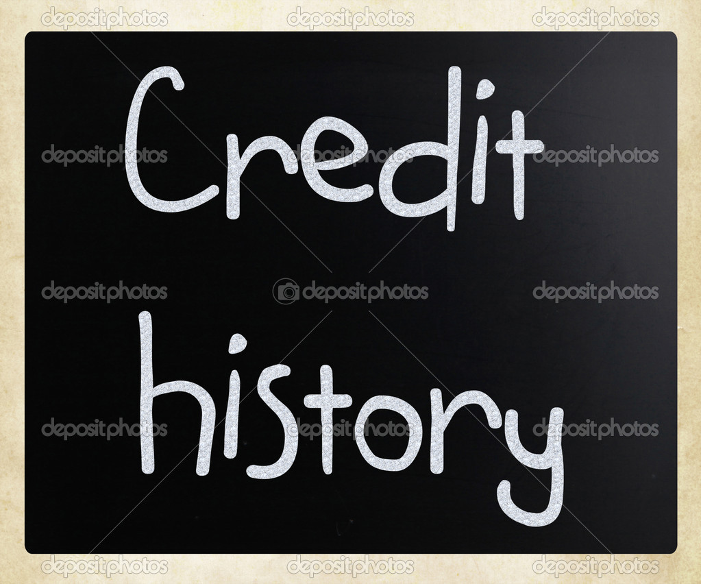 Credit history handwritten with white chalk on a blackboard — Stock Photo #9717259