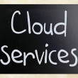 """Cloud services"" handwritten with white chalk on a blackboard - Stock Photo"