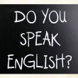 """Do you speak english"" handwritten with white chalk on blackbo — Stock Photo #9979855"