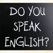 "Stock Photo: ""Do you speak english"" handwritten with white chalk on blackbo"