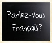 """Parlez-Vous Français?"" handwritten with white chalk on a black — Stock fotografie"
