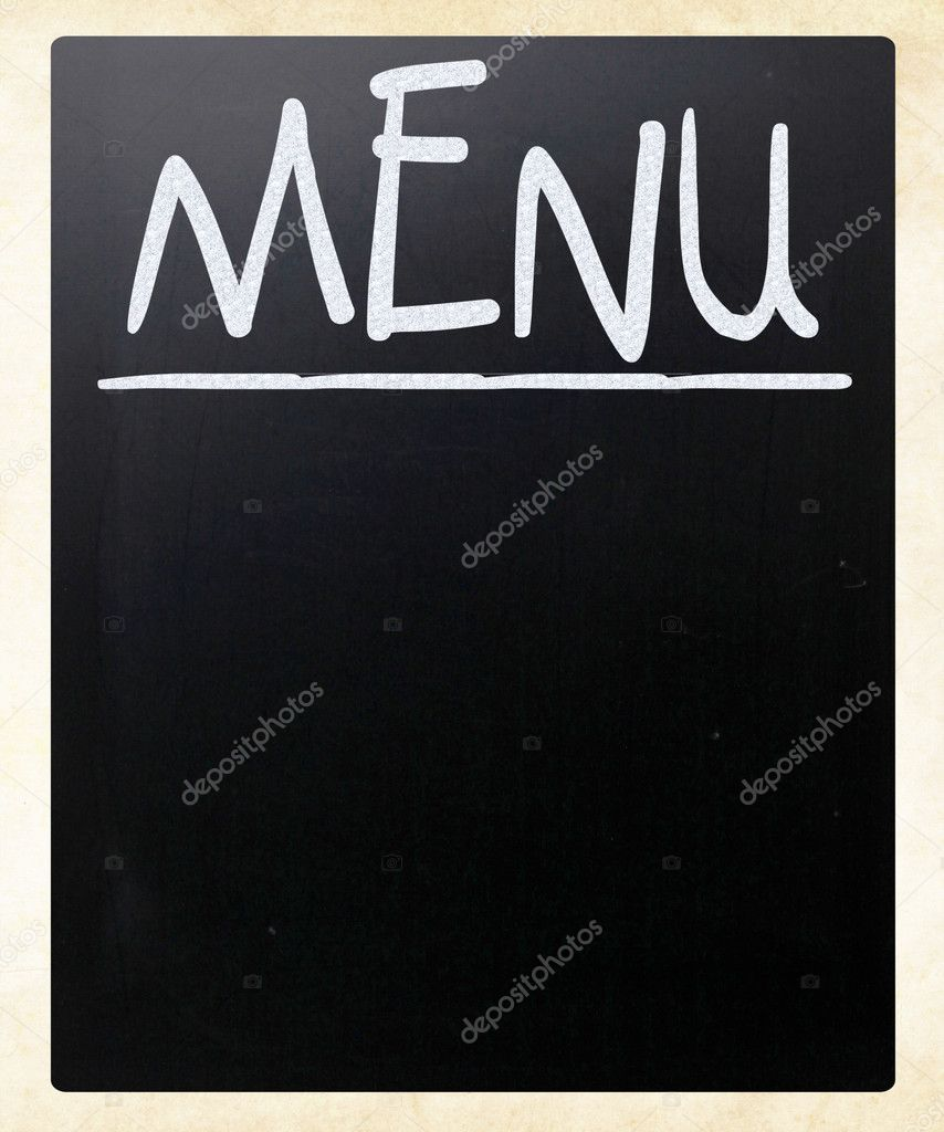 Blank blackboard with white chalk smudges used a restaurant menu. — Stock Photo #9979912