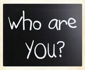 """""""Who are you"""" handwritten with white chalk on a blackboard — Stock Photo"""