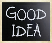 """Good idea"" handwritten with white chalk on a blackboard — Stock Photo"