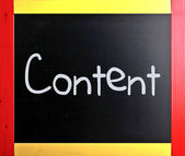 """The word """"Content"""" handwritten with white chalk on a blackboard — Stock Photo"""