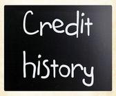 「信用履歴」が黒板に白いチョークで手書き — Stock fotografie