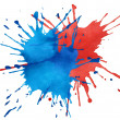 Stock Photo: Blot of blue and red watercolor