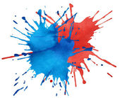 Blot of blue and red watercolor — Stock Photo