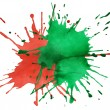 Stock Photo: Red and green blots of watercolor paint