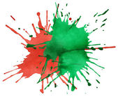 Red and green blots of watercolor paint — Stock Photo