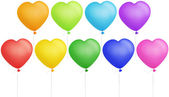 Set of colorful heart shape balloons — Stock Photo