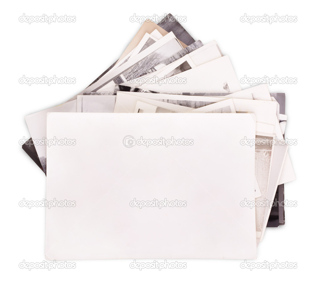 Stack of old photos with empty frame for your photo isolated on white background — Stock Photo #8856202
