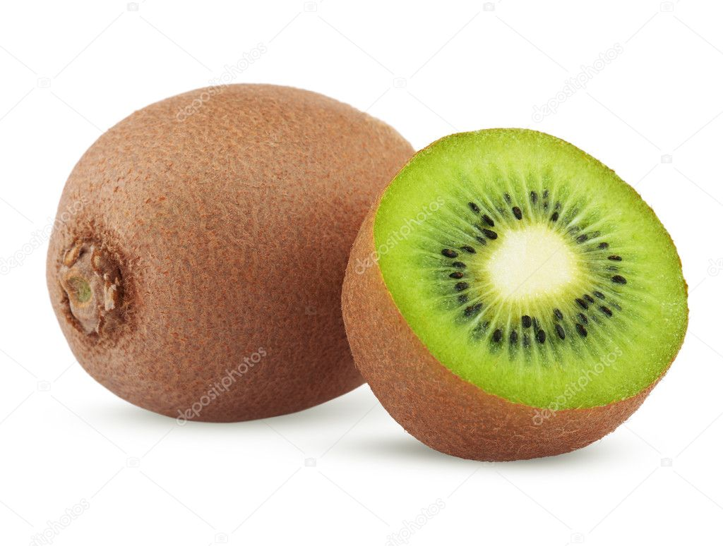 Ripe kiwi fruit with half isolated on white background  Stock Photo #9931586