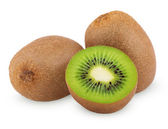 Ripe kiwi fruits with half — Stock Photo