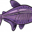 Cartoon x-ray fish — Stock Vector