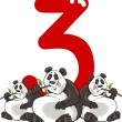 ������, ������: Number three and 3 pandas