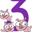 Number three and 3 pigs — Stock Vector