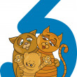 Number three and 3 cats — Imagen vectorial