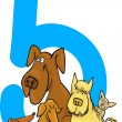 Royalty-Free Stock Vector Image: Number five and 5 dogs