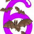 Stock Vector: Number six and 6 bats