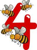 číslo čtyři a 4 včely — Stock vektor