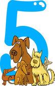 Numer 5 i 5 psów — Wektor stockowy