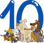 数 10 个或 10 狗 — 图库矢量图片